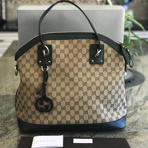 0e96b98356b Gucci Bags   Ssima Gg Leather Trim Dome Satchel Nwot   Poshmark